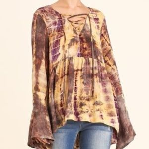 Umgee Tie Dye Honey Tunic Small Spring Bell Sleeve
